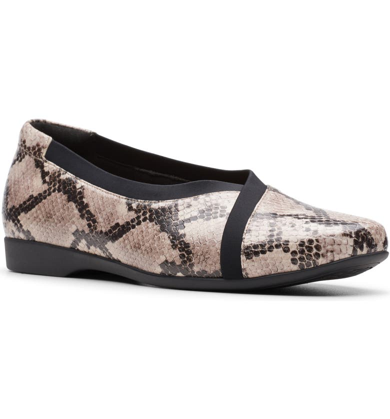 CLARKS<SUP>®</SUP> Un Darcey Ballet Flat, Main, color, NATURAL SNAKE PRINT LEATHER