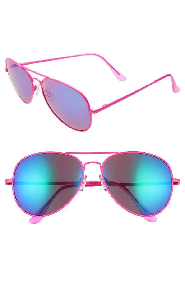 BP. Neon Mirrored Aviator Sunglasses, Main, color, 670
