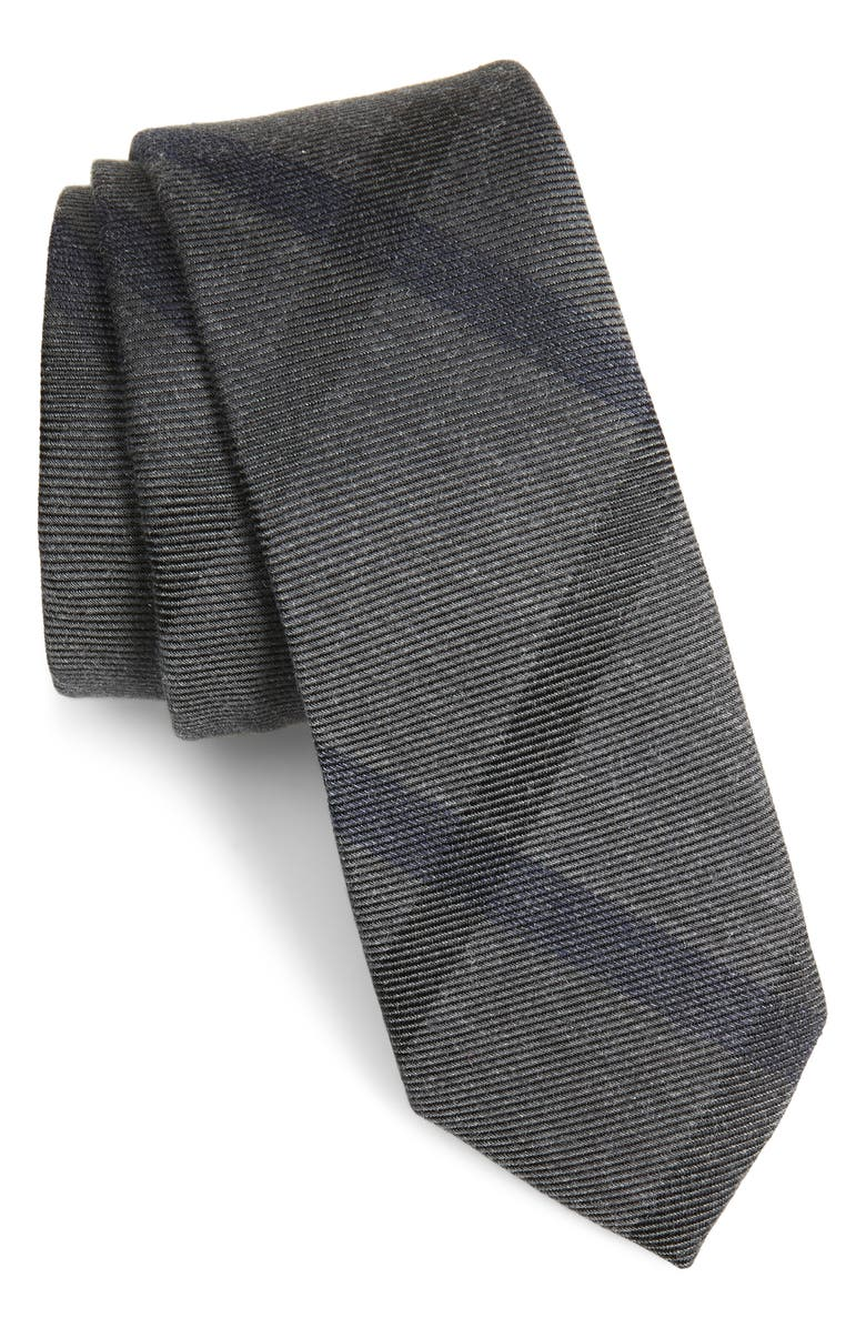1901 Vinca Plaid Tie, Main, color, BLACK