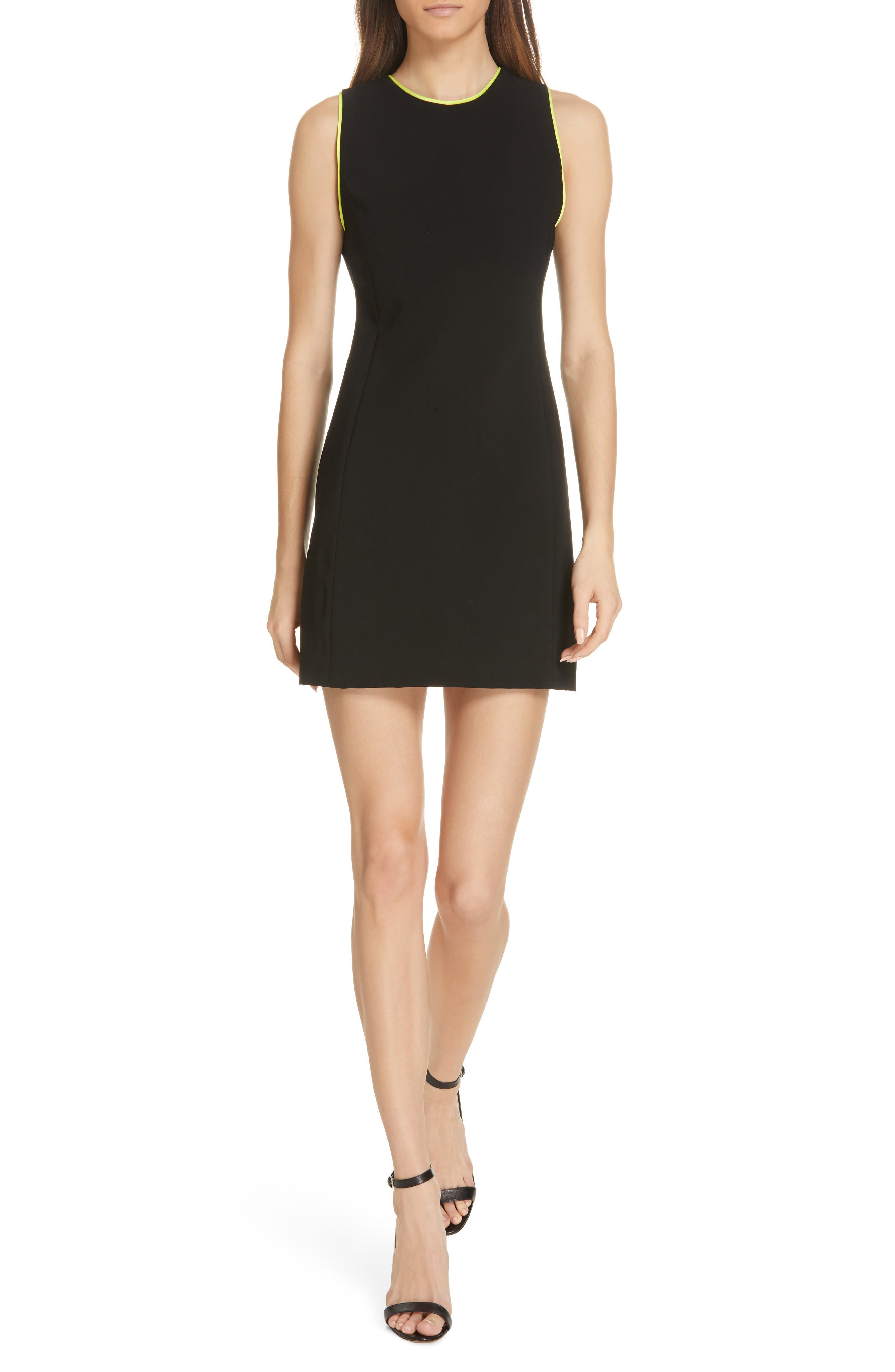 ,                             Clyde A-Line Dress,                             Main thumbnail 1, color,                             BLACK/ NEON YELLOW