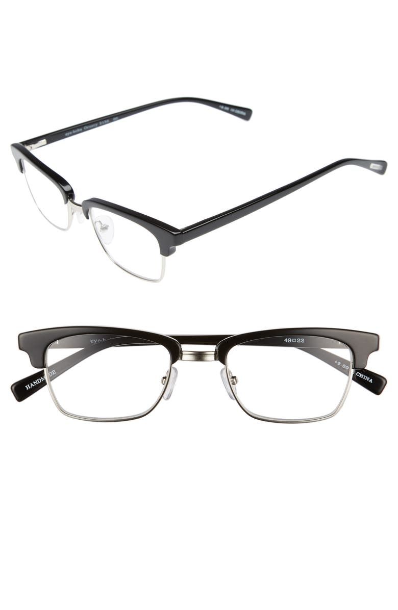EYEBOBS Ornery 49mm Reading Glasses, Main, color, BLACK WITH SILVER