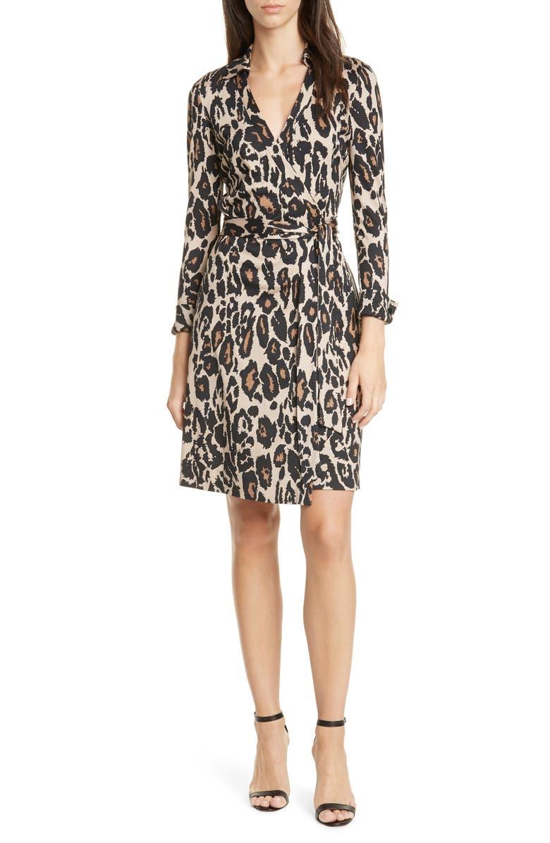DVF New Jeanne Two Long Sleeve Silk Wrap Dress, Main, color, 200