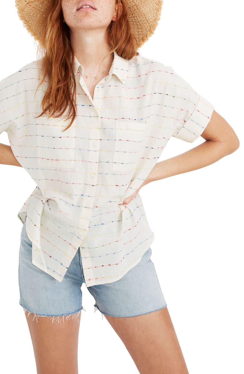MADEWELL Flecked Rainbow Stripe Courier Shirt, Main, color, 900