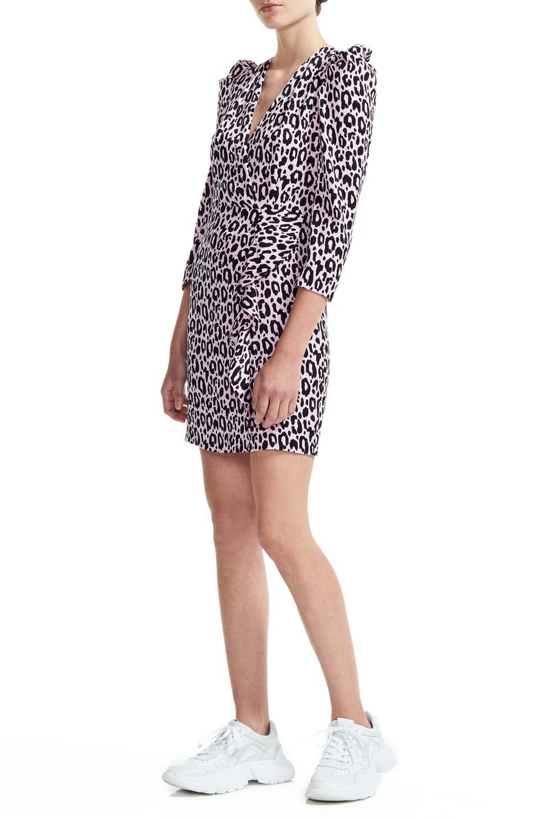 MAJE Ripanta Leopard Print Wrap Front Dress, Main, color, PINK