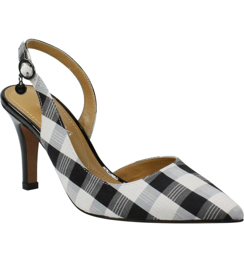 J. RENEÉ Yusra Slingback Pump, Main, color, BLACK/ WHITE GINGHAM FABRIC
