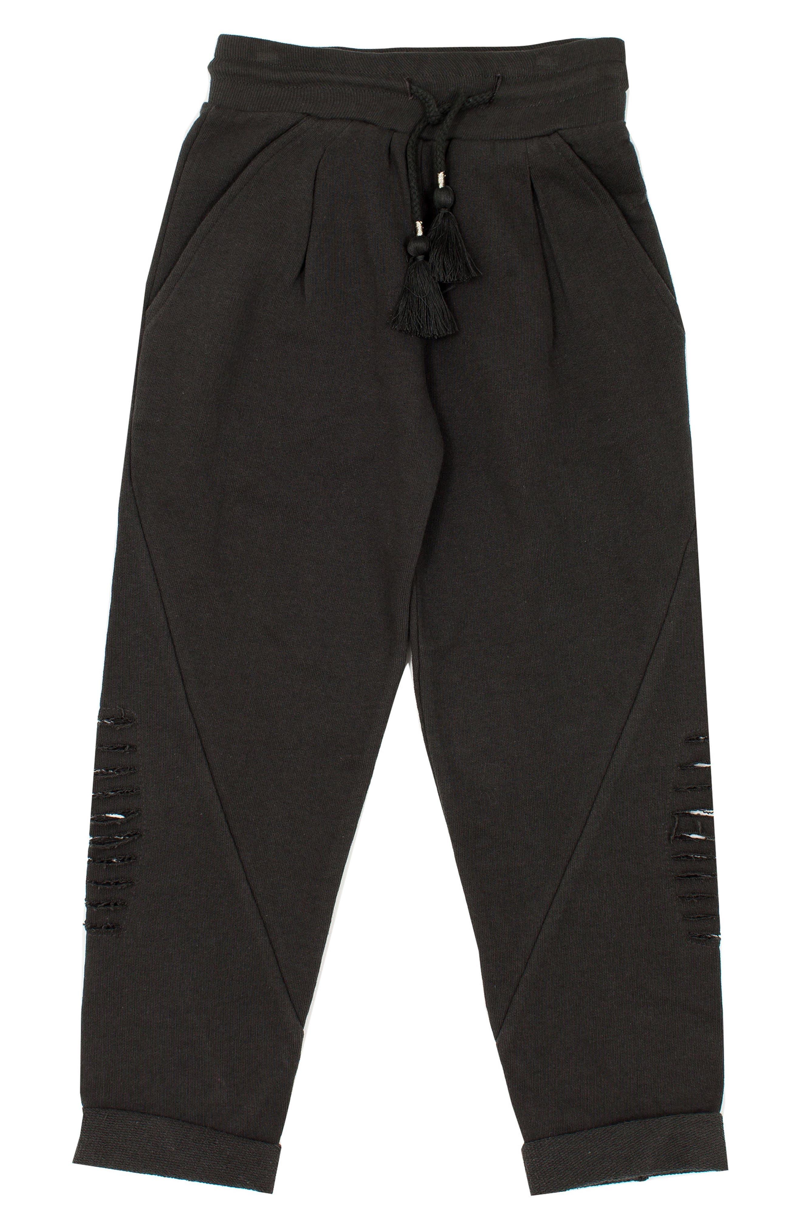 Girls Bowie X James Alchemy Distressed Sweatpants Size L (1112)  Grey