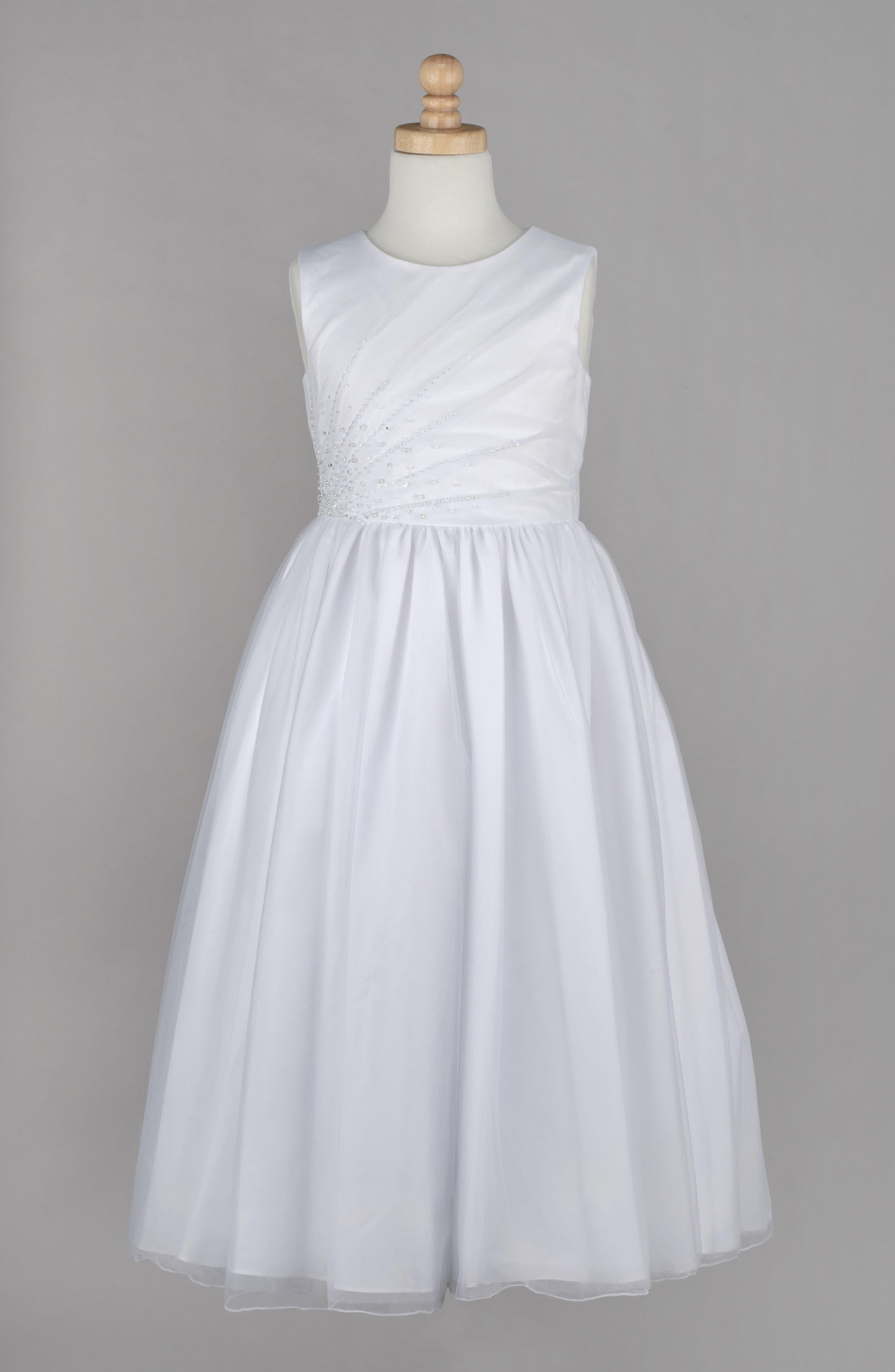 ,                             Beaded First Communion Dress,                             Alternate thumbnail 5, color,                             WHITE