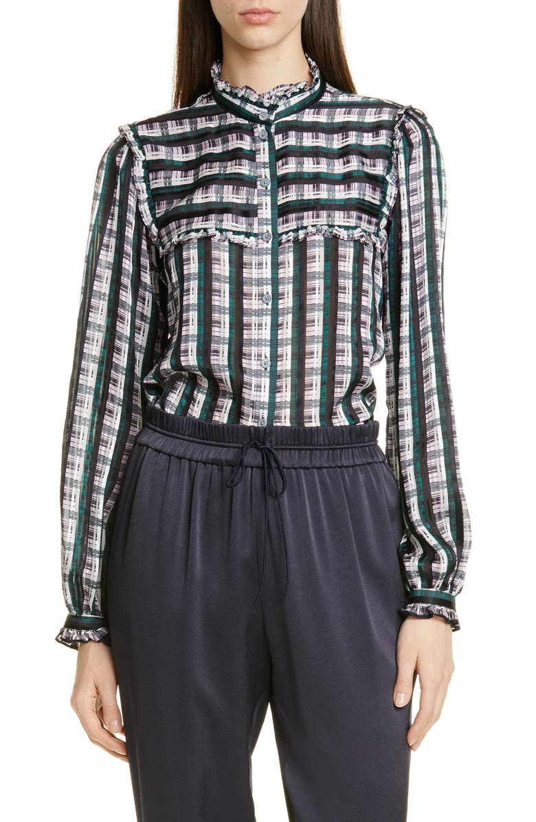 JASON WU Plaid Ruffle Blouse, Main, color, CACTUS ROSE MULTI
