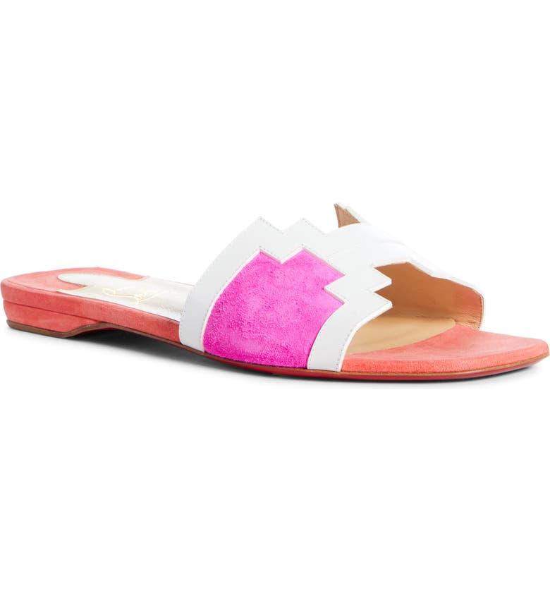 CHRISTIAN LOUBOUTIN Hao Slide Sandal, Main, color, SMOOTHIE/ WHITE