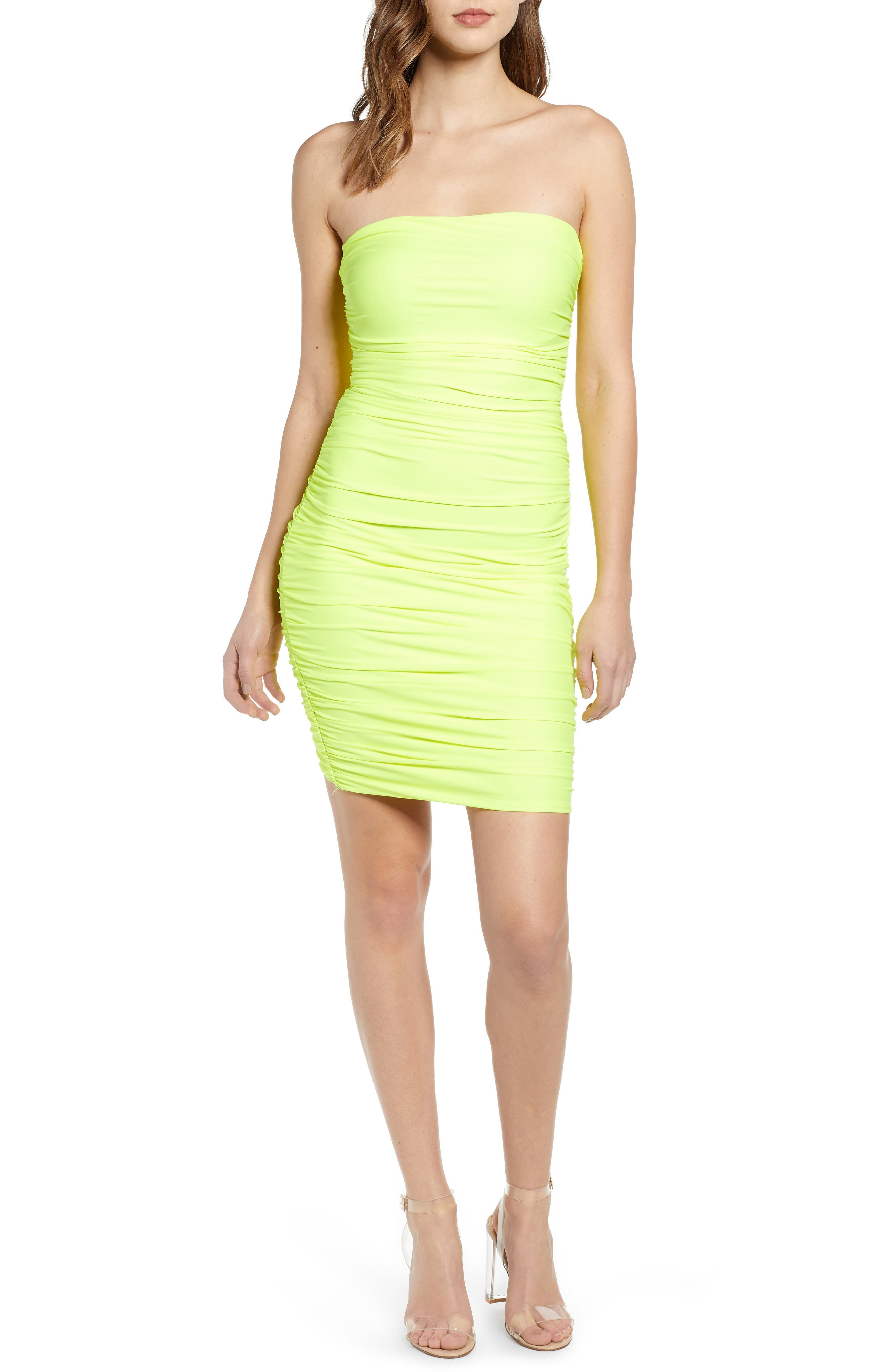 Tiger Mist Keeli Strapless Body-Con Dress, Yellow