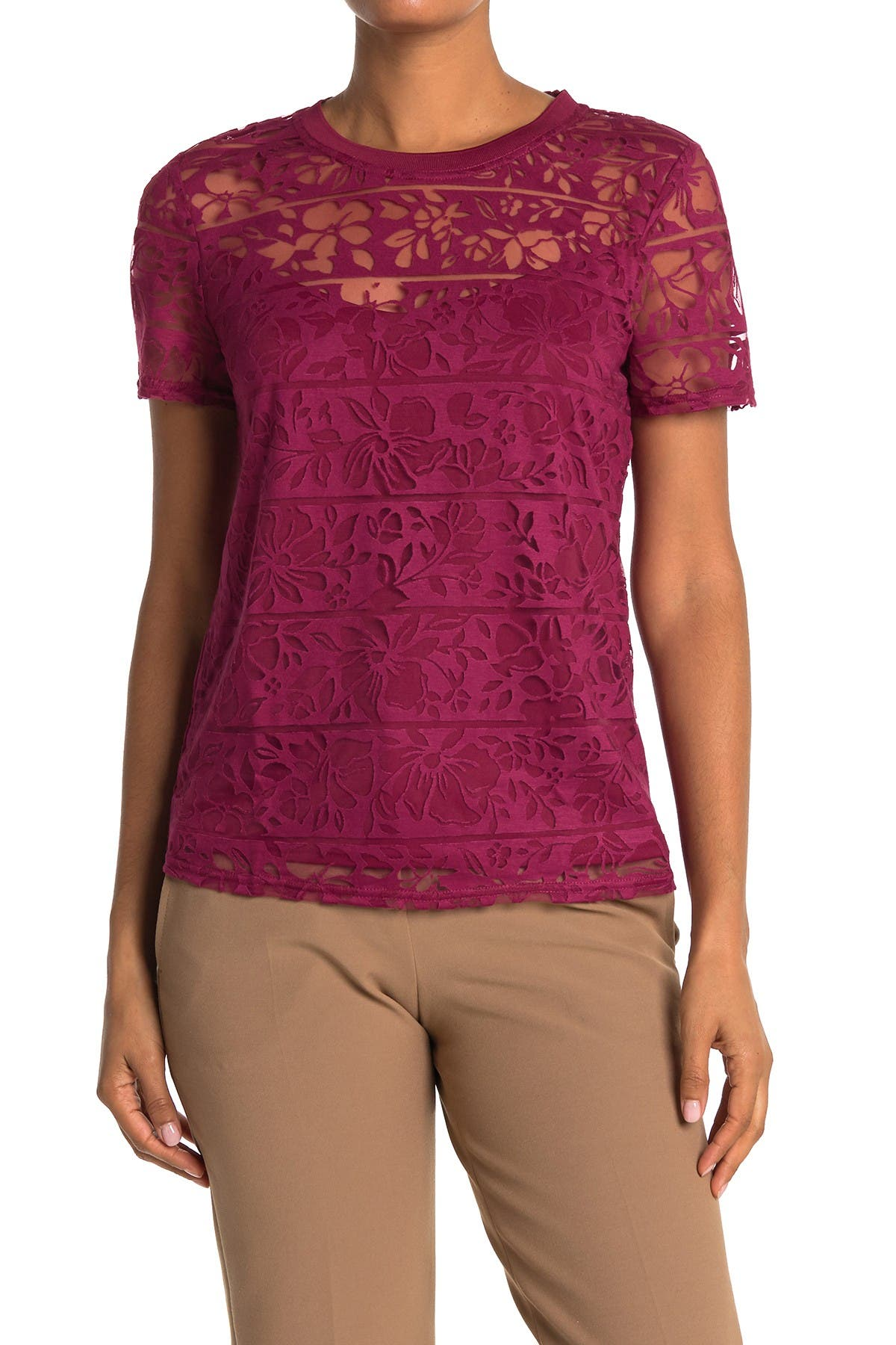 Image of Laundry By Shelli Segal Floral Stripe Burnout T-Shirt