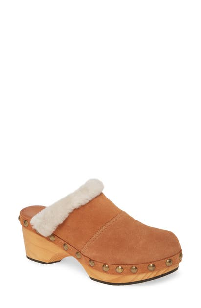 Free People Shoes CHALET CLOG WITH GENUINE SHEARLING TRIM