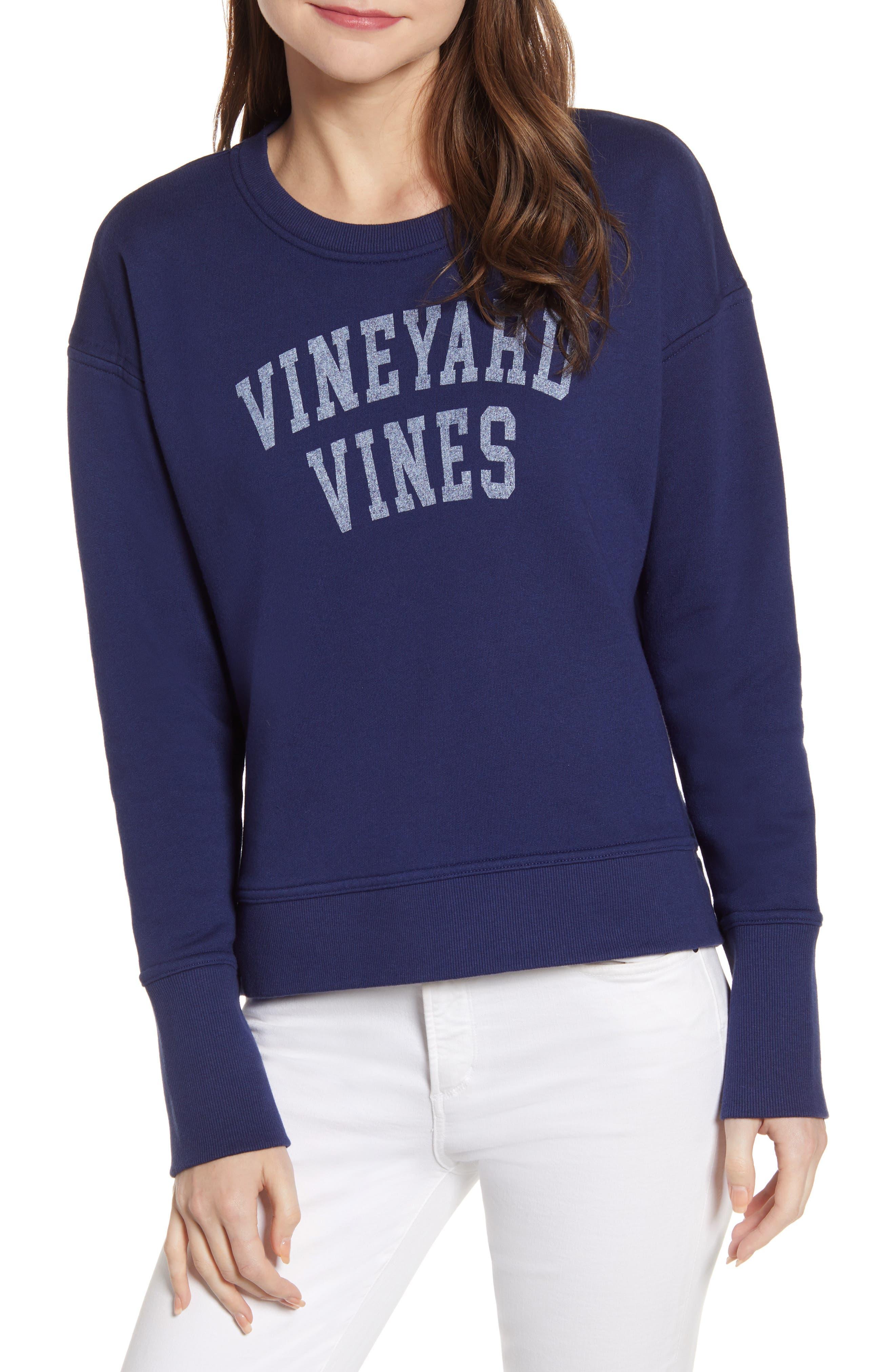 Vineyard Vines Logo Cotton Blend Sweatshirt, Blue