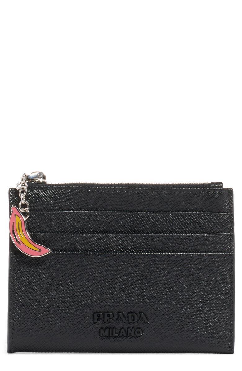 PRADA Banana Charm Card Leather Case, Main, color, NERO
