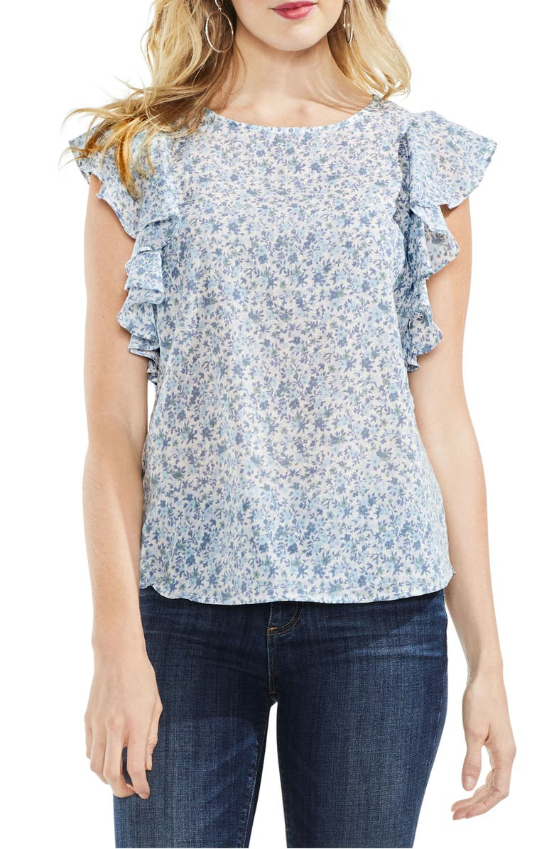 VINCE CAMUTO Whisper Ditsy Ruffle Sleeve Top, Main, color, 108