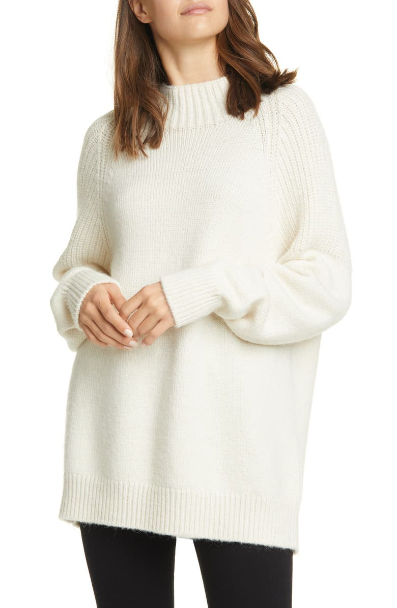 FRAME Boxy Mixed Stitch Sweater, Main, color, OFF WHITE
