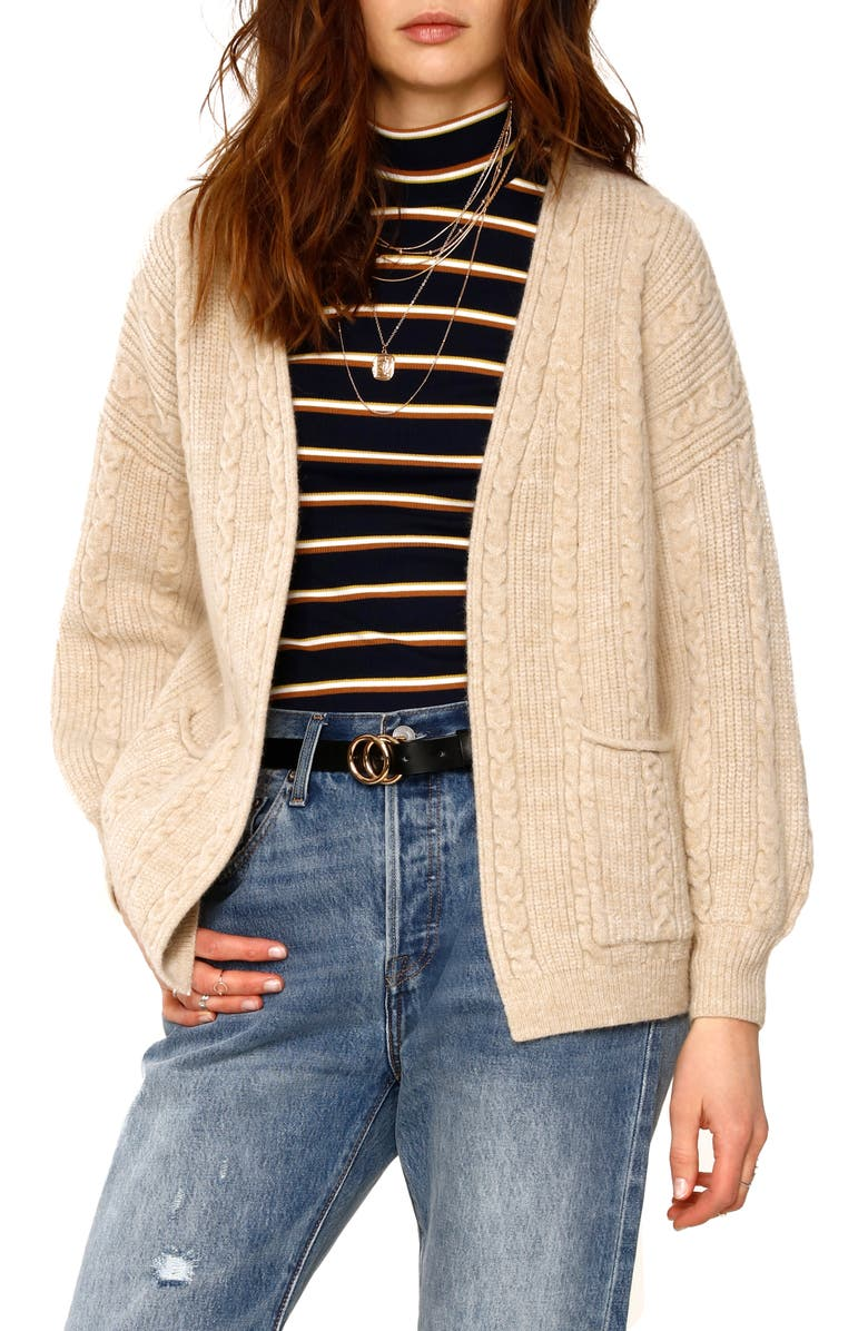 HEARTLOOM Lilah Cable Knit Cardigan, Main, color, OAT