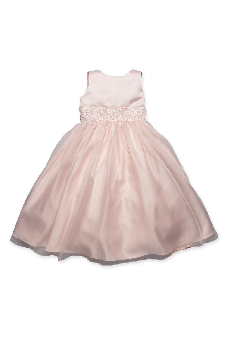 US ANGELS Beaded Satin Sleeveless Dress, Main, color, BLUSH PINK