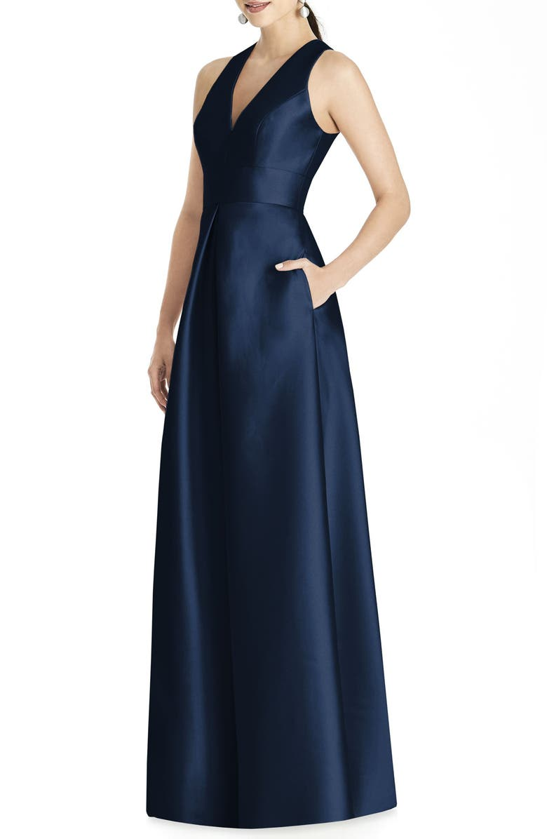 ALFRED SUNG Sleeveless Sateen Gown, Main, color, MIDNIGHT