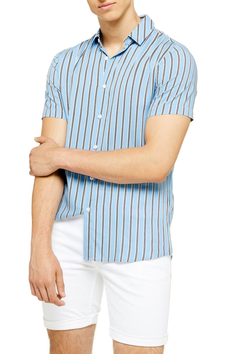 TOPMAN Short Sleeve Stripe Slim Fit Shirt, Main, color, BLUE MULTI