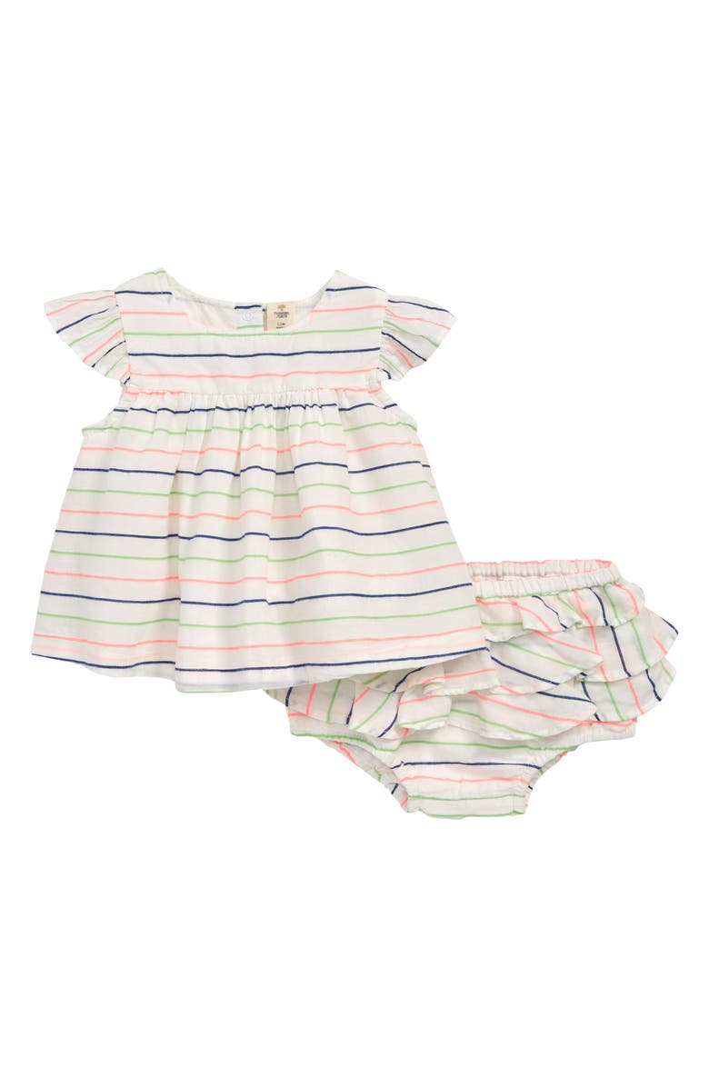 TUCKER + TATE Neon Stripe Dress & Ruffle Bloomers Set, Main, color, WHITE- PINK MULTI STRIPE