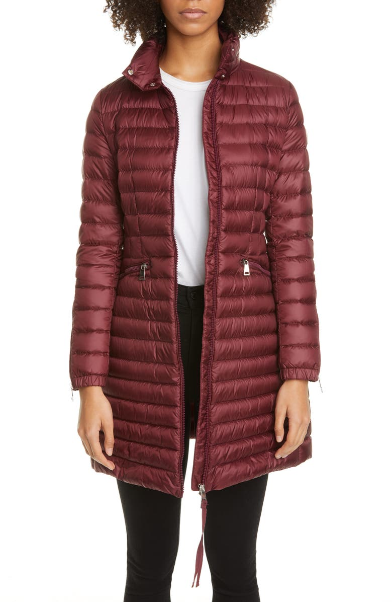 MONCLER Sable Lightweight Down Quilted Puffer Coat, Main, color, BURGUNDY