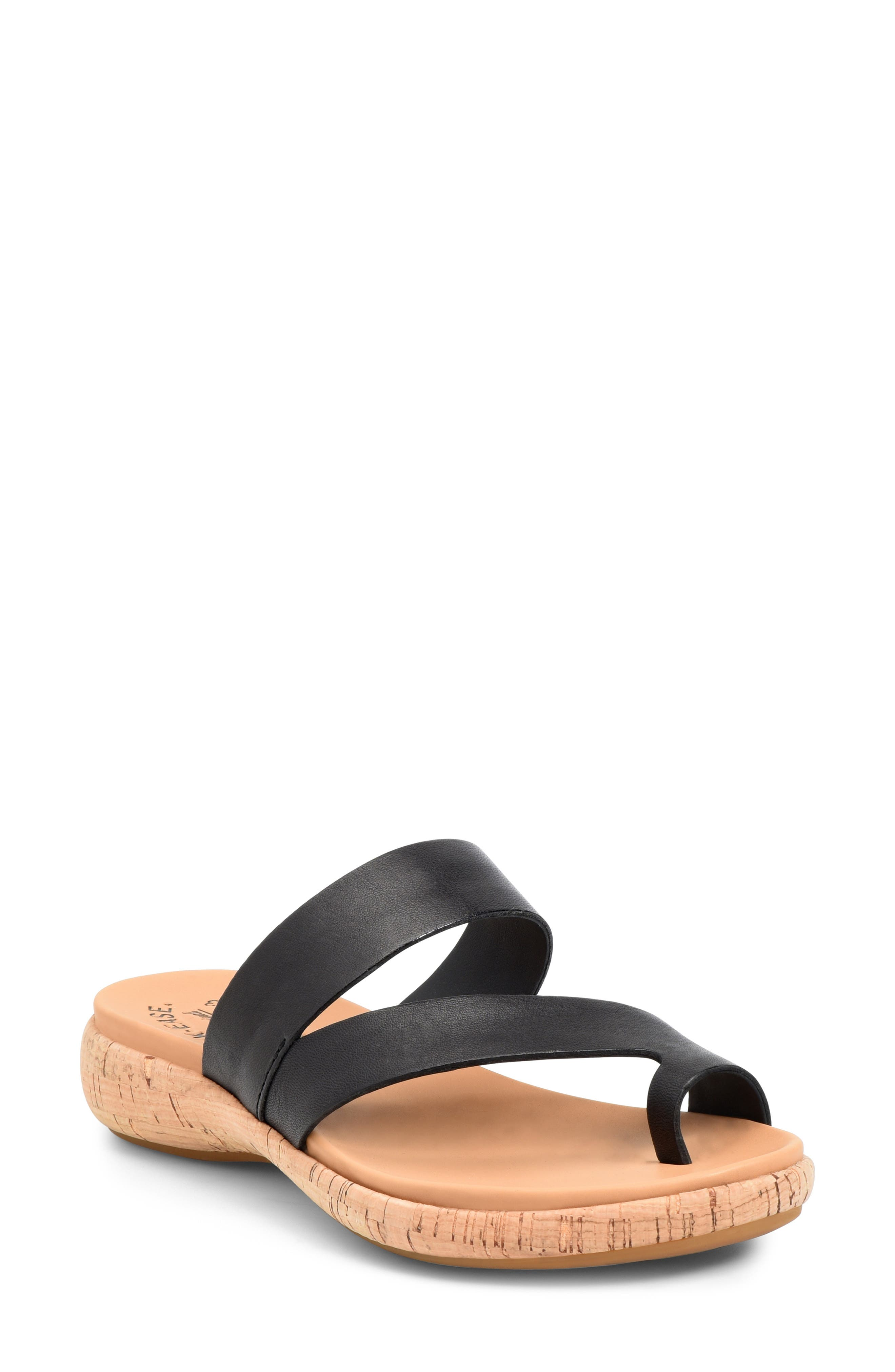 Wide leather straps and a toe loop add modern sophistication to a well-cushioned footbed set on a cork-textured sole. Style Name: Kork-Ease Elaver Slide Sandal (Women). Style Number: 6032799. Available in stores.