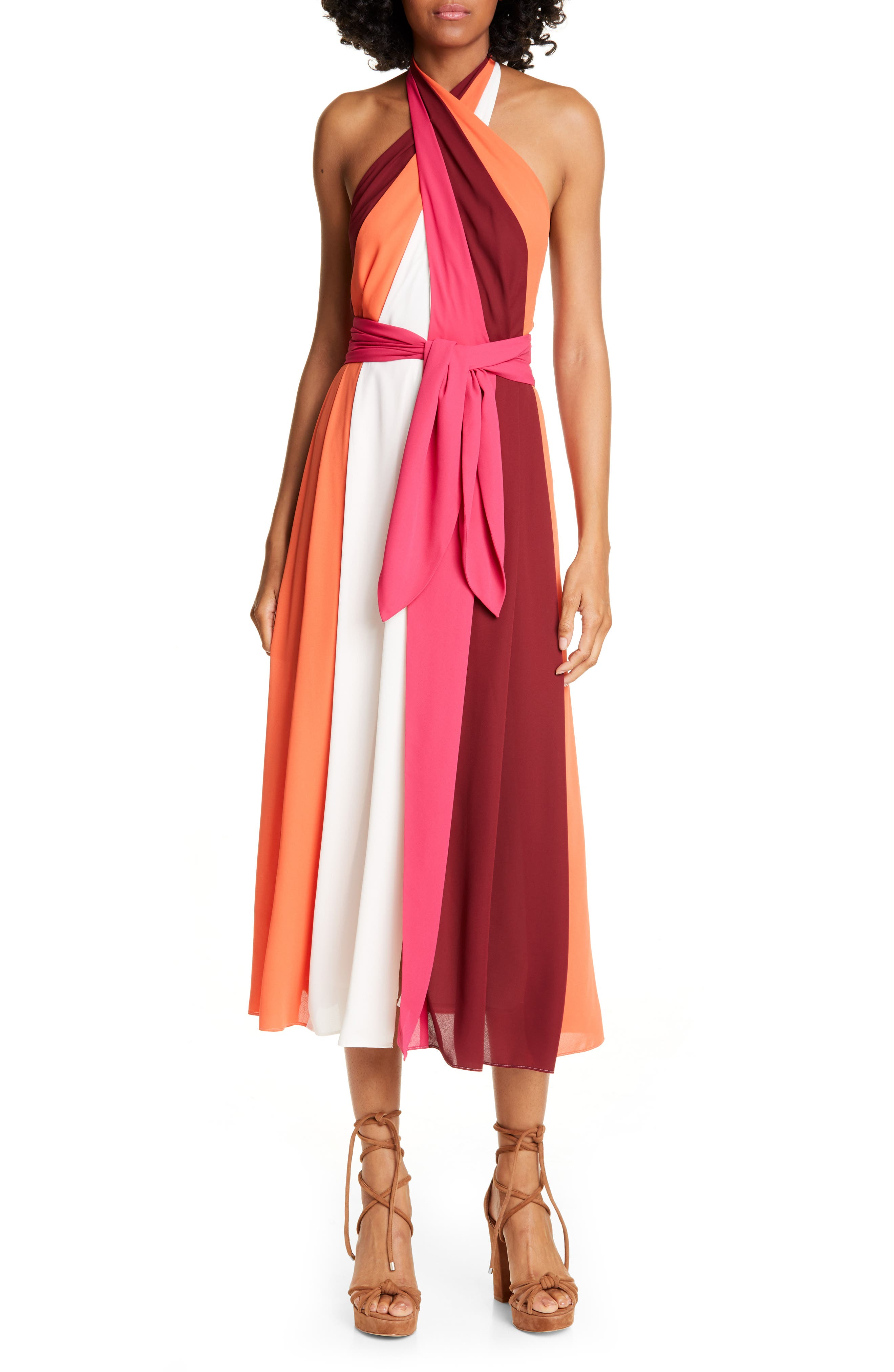 Tommy X Zendaya Cross Front Midi Dress, Burgundy
