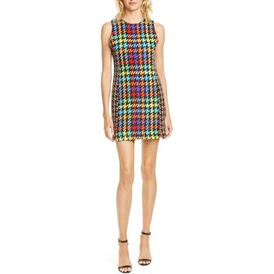 Alice + Olivia Colin Houndstooth Tweed Minidress, Black