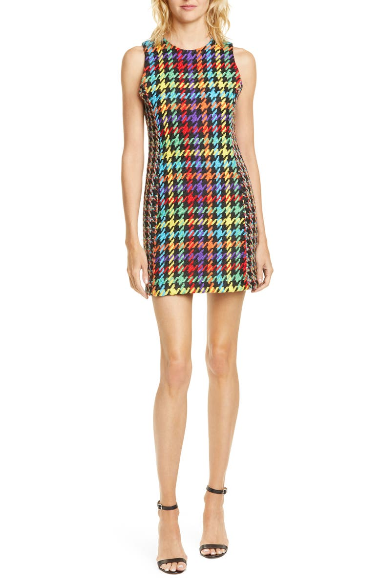 ALICE + OLIVIA Colin Houndstooth Tweed Minidress, Main, color, BLK MULTI