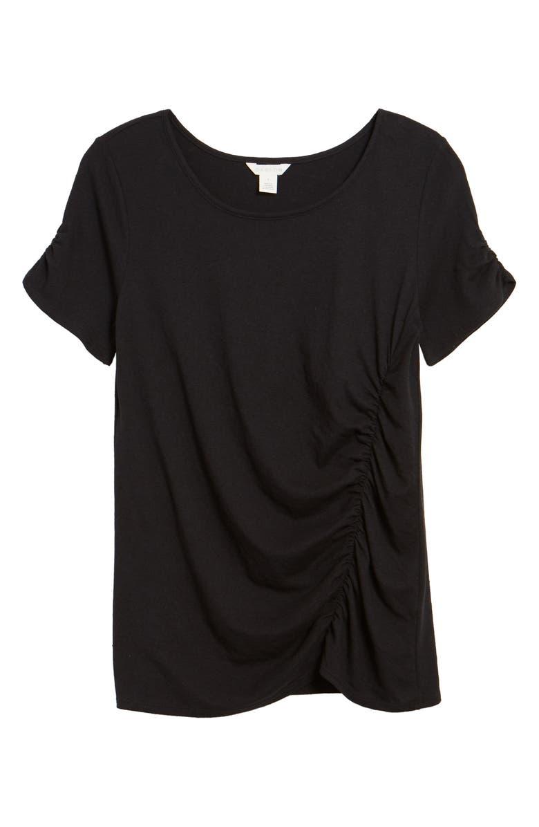 CASLON<SUP>®</SUP> Ruched Knit T-Shirt, Main, color, 001
