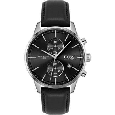 Boss Associate Chronograph Leather Strap Watch, 4m