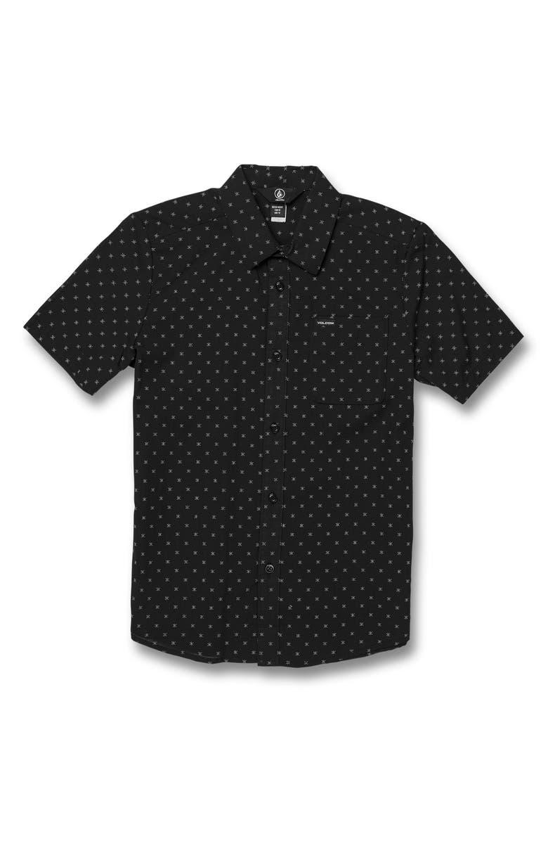 VOLCOM Newmark Woven Cotton Shirt, Main, color, 001