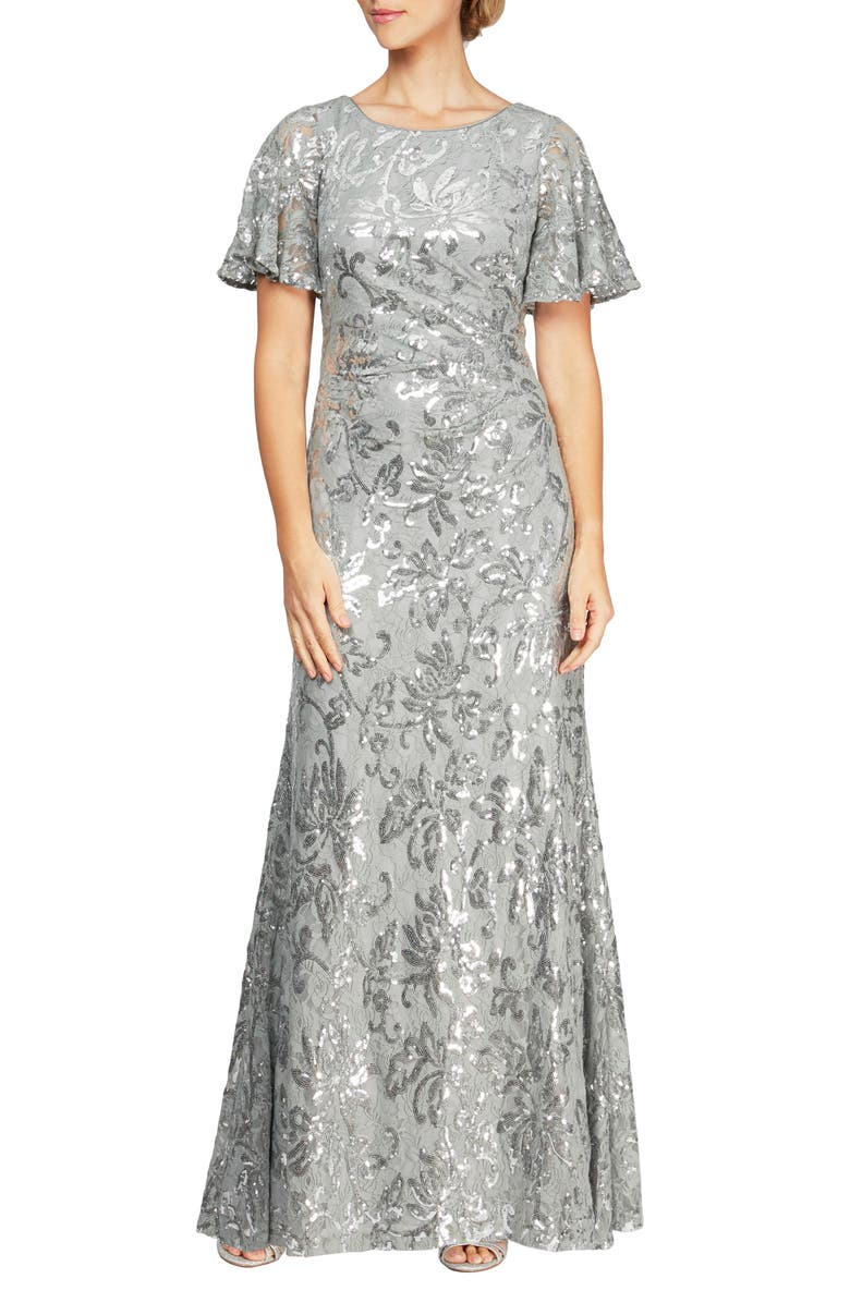 ALEX EVENINGS Sequin Lace Gown, Main, color, SILVER