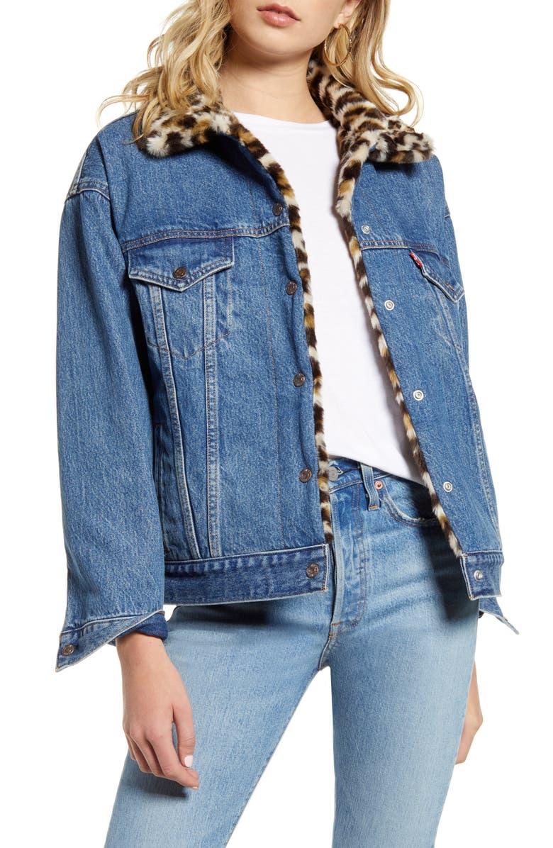 LEVI'S<SUP>®</SUP> Oversize Reversible Faux Fur & Denim Trucker Jacket, Main, color, 420