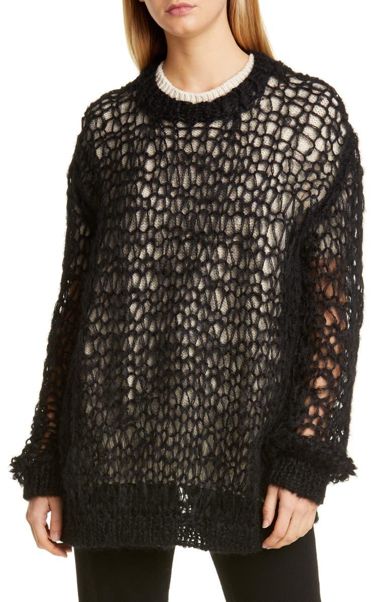 JUNYA WATANABE Layered Hand Knit Wool & Silk Sweater, Main, color, BLACK X NATURAL