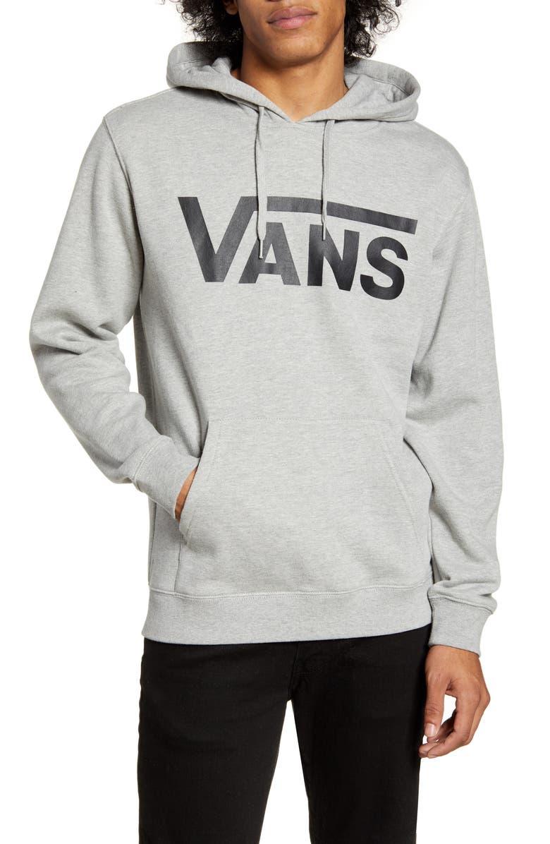 VANS Classic Fit Logo Hooded Sweatshirt, Main, color, CEMENT HEATHER