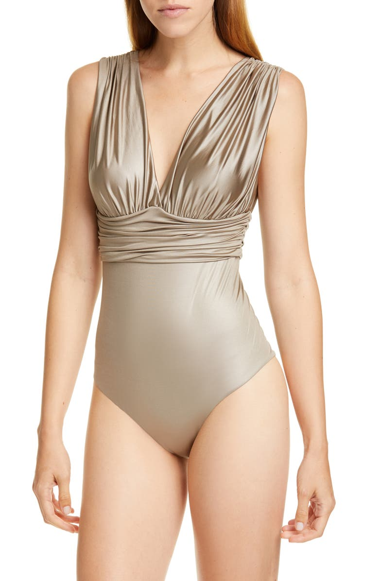 MAX MARA Oritsei Ruched One-Piece Swimsuit, Main, color, 250