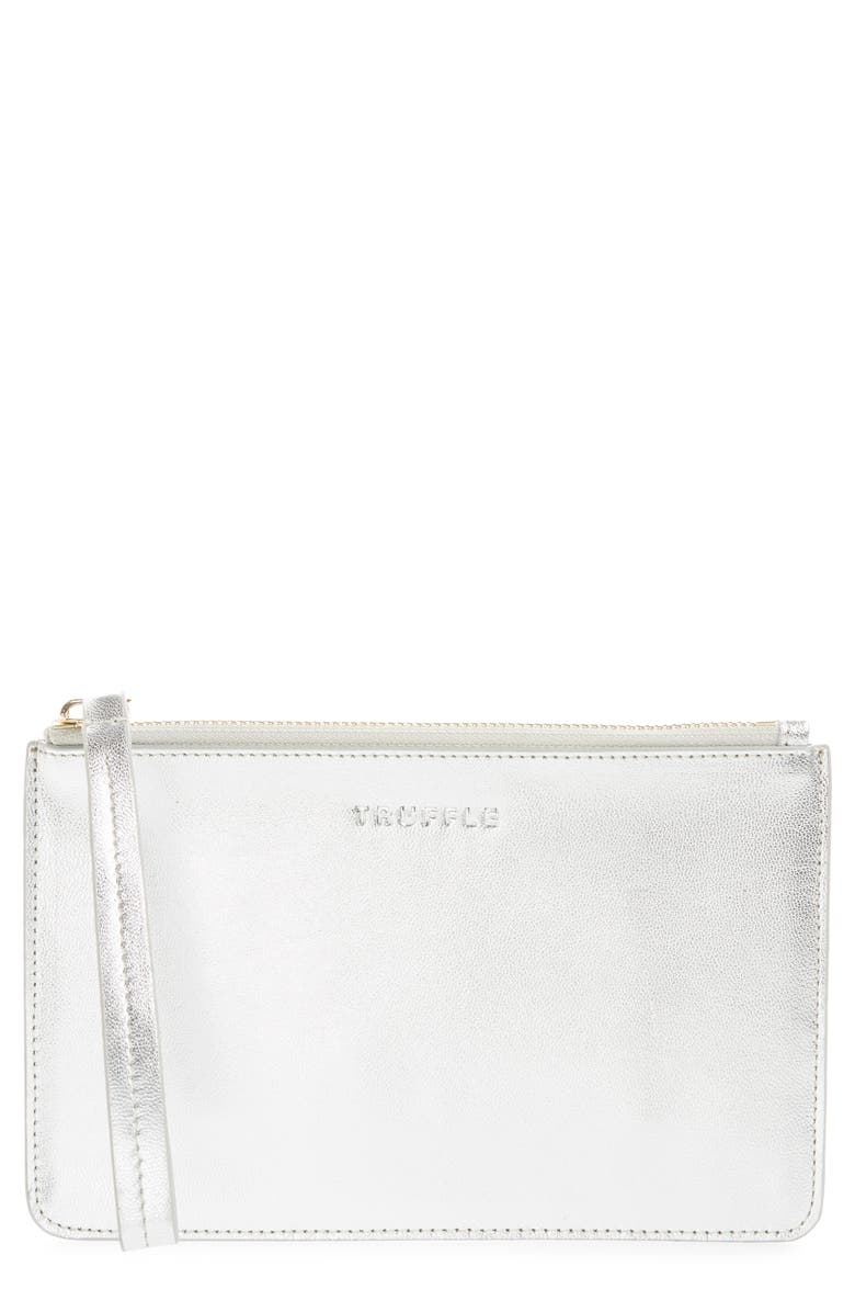 TRUFFLE Privacy Leather Wristlet, Main, color, SILVER