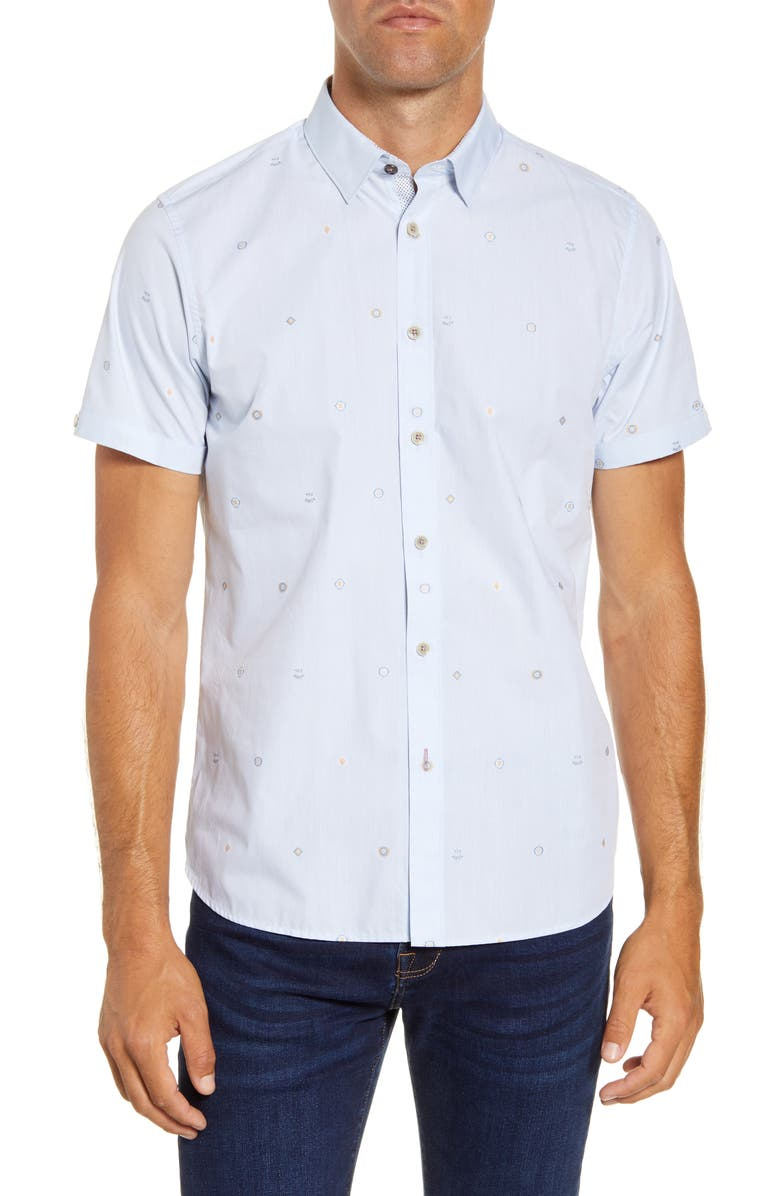 TED BAKER LONDON Slim Fit Embroidered Short Sleeve Button-Up Shirt, Main, color, BLUE