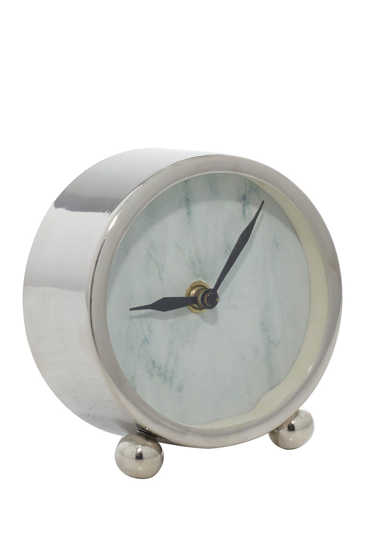 Image of Willow Row Silver Stainless Steel & Aluminum Glam Clock