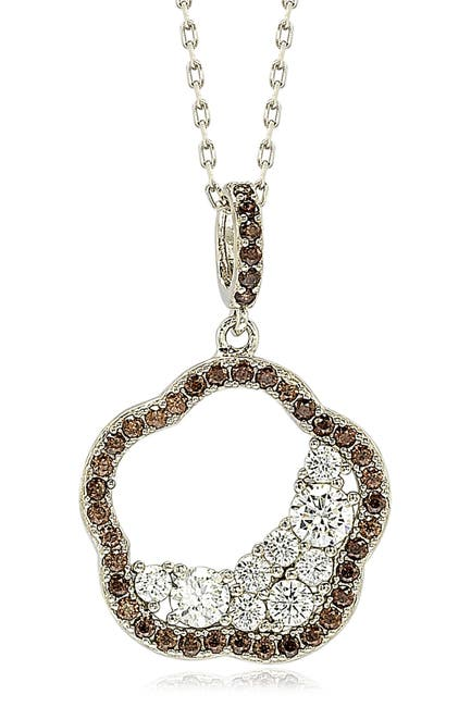 Image of Suzy Levian Sterling Silver Chocolate Cubic Zirconia Half Moon Cluster Flower Pendant