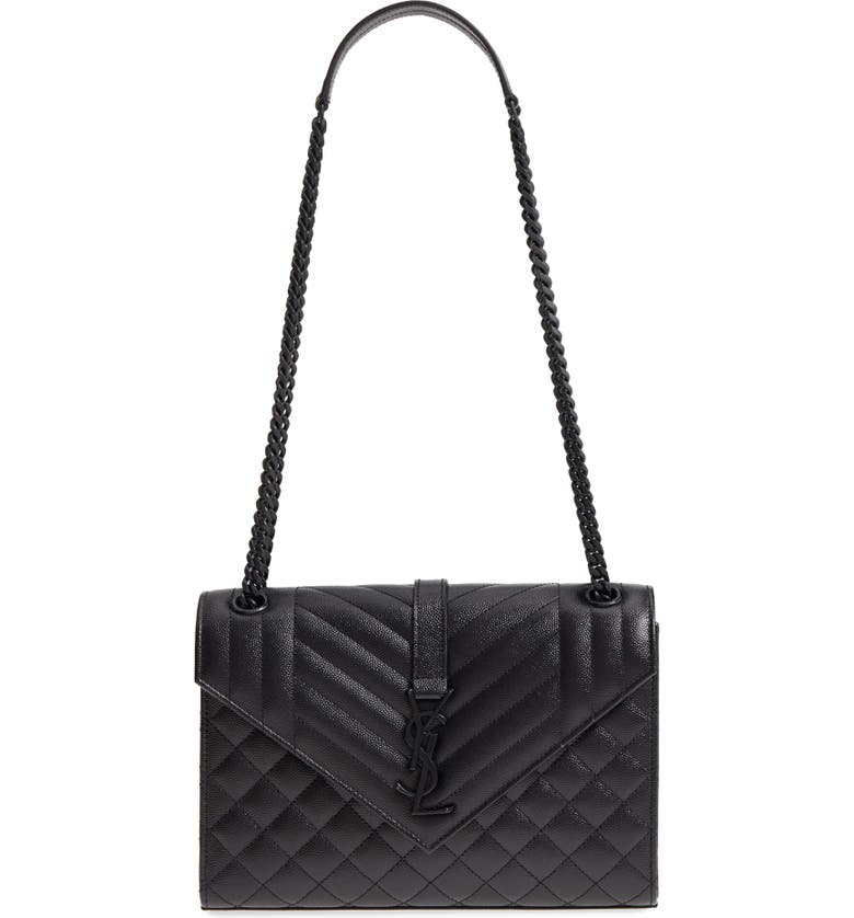 SAINT LAURENT Medium Cassandra Calfskin Shoulder Bag, Main, color, NERO/ NERO/ NERO