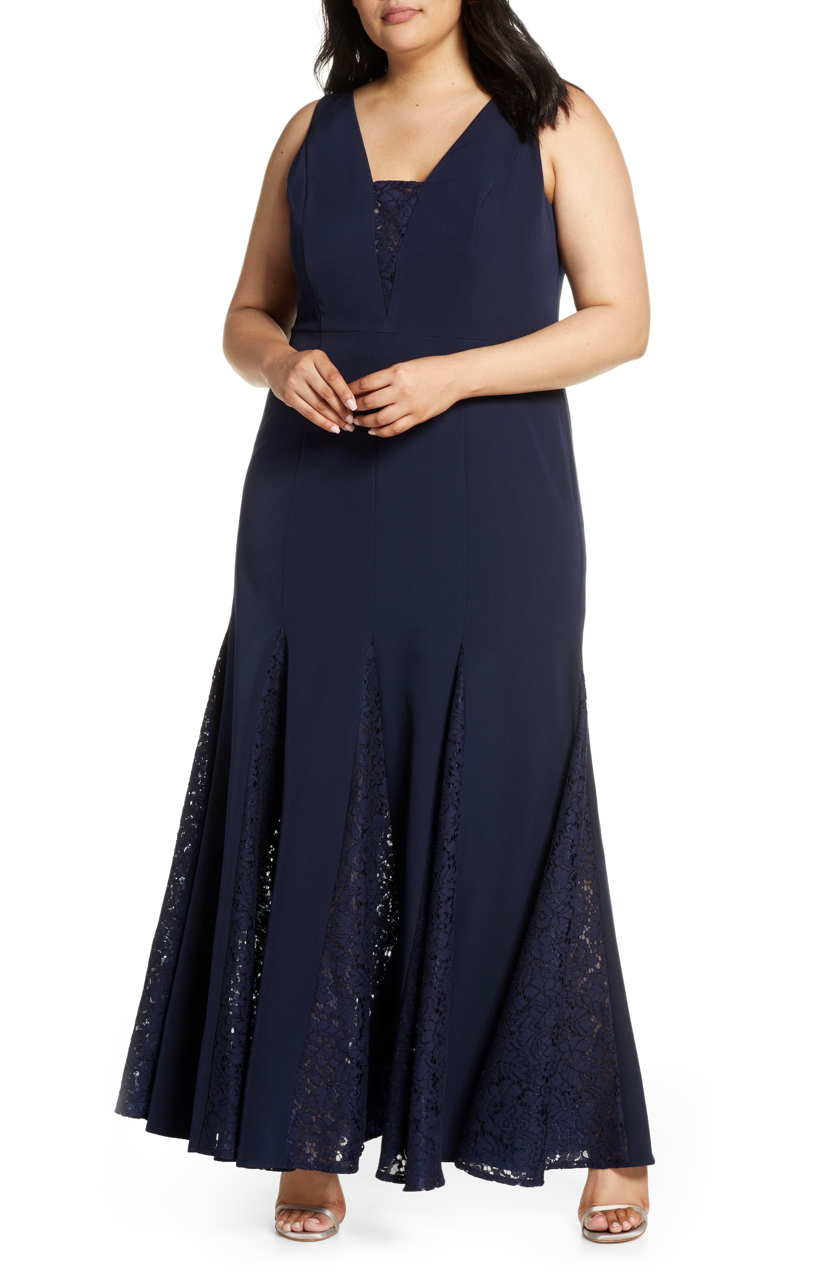 1930s Evening Dresses | Old Hollywood Dress Plus Size Womens Eliza J Lace Inset Laguna Crepe Trumpet Gown $228.00 AT vintagedancer.com