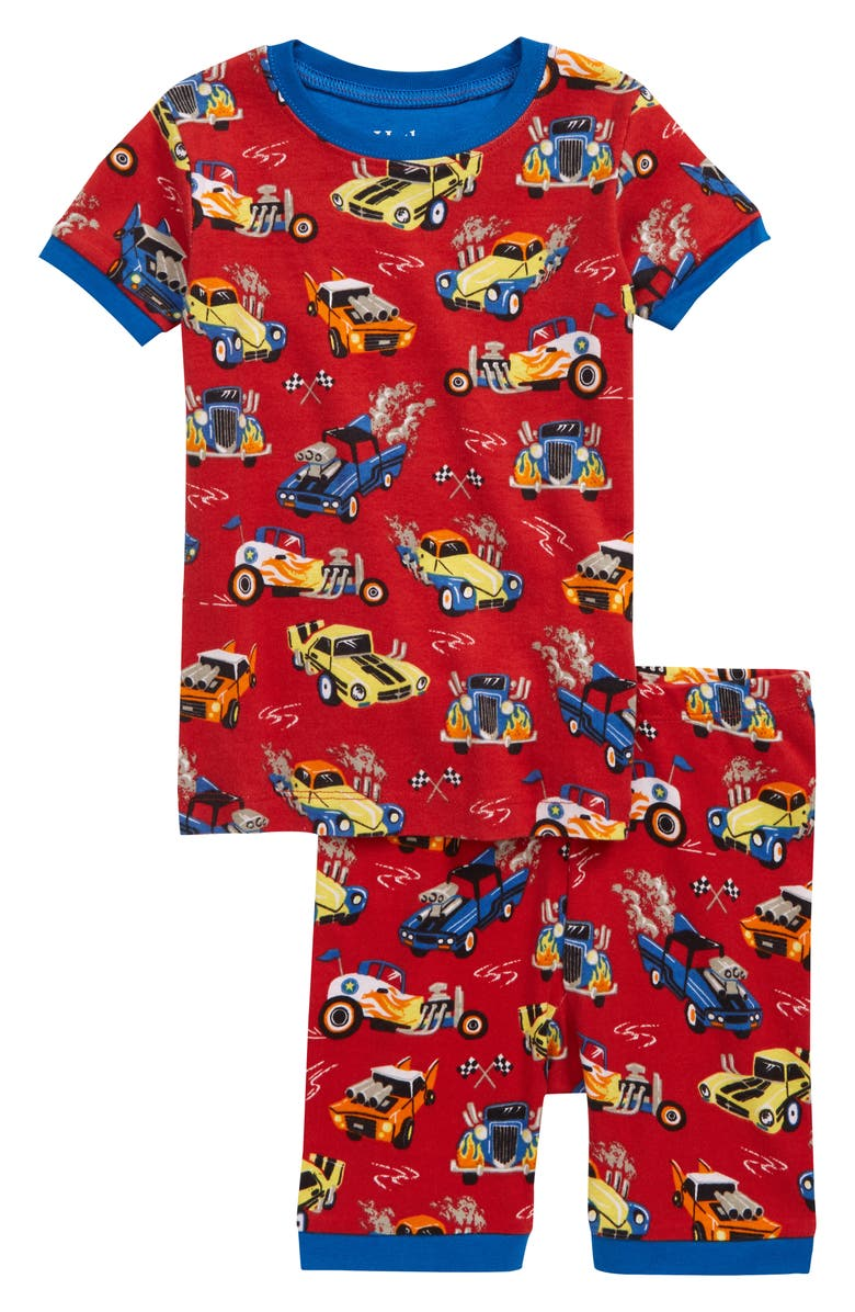 HATLEY Hot Rods Organic Cotton Fitted Two-Piece Pajamas, Main, color, 600