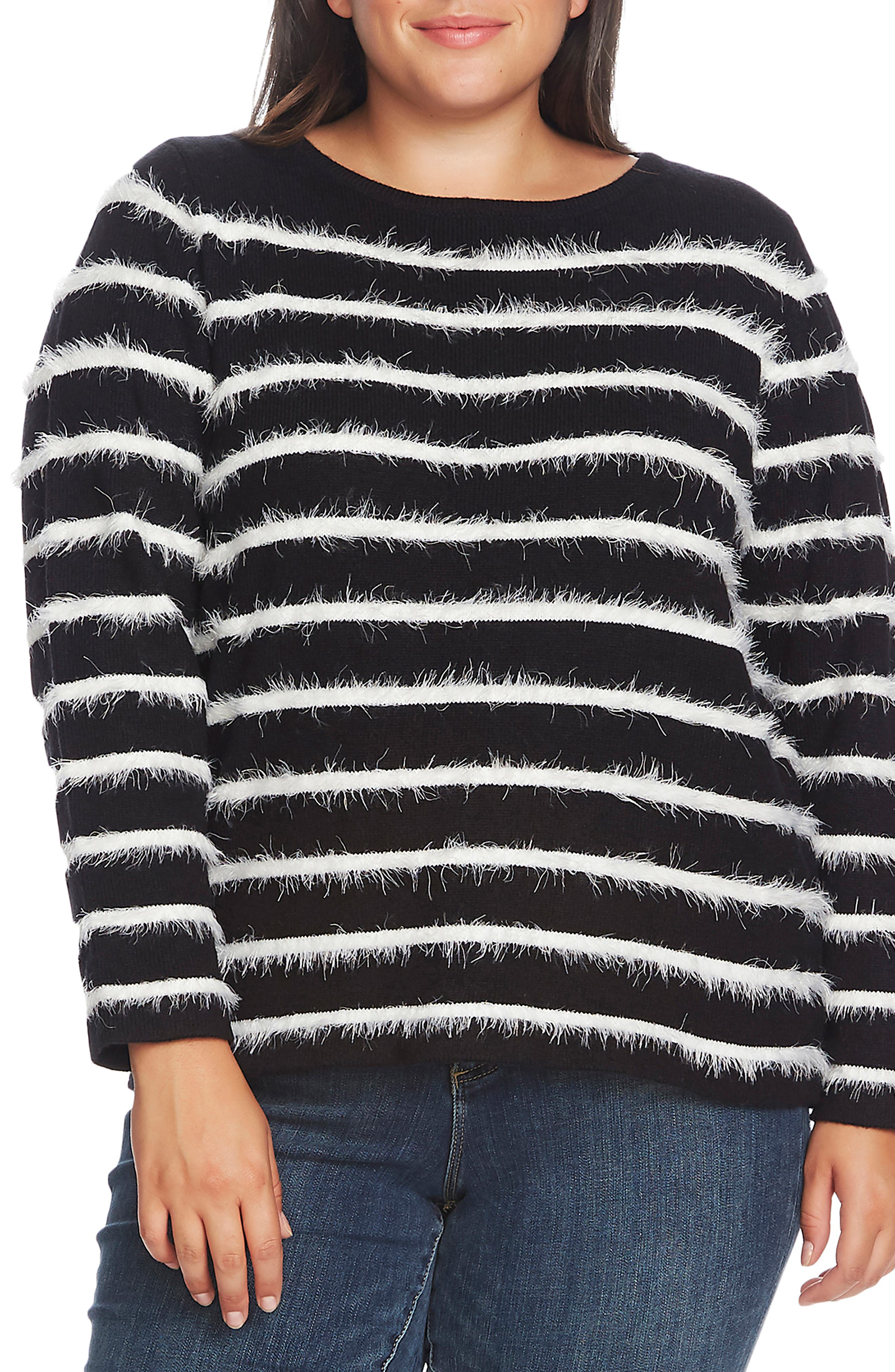 Image of Vince Camuto Long Sleeve Eyelash Striped Sweater