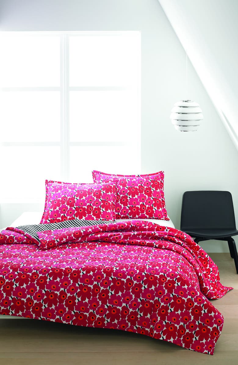 MARIMEKKO Unikko Quilt & Sham Set, Main, color, DARK RED