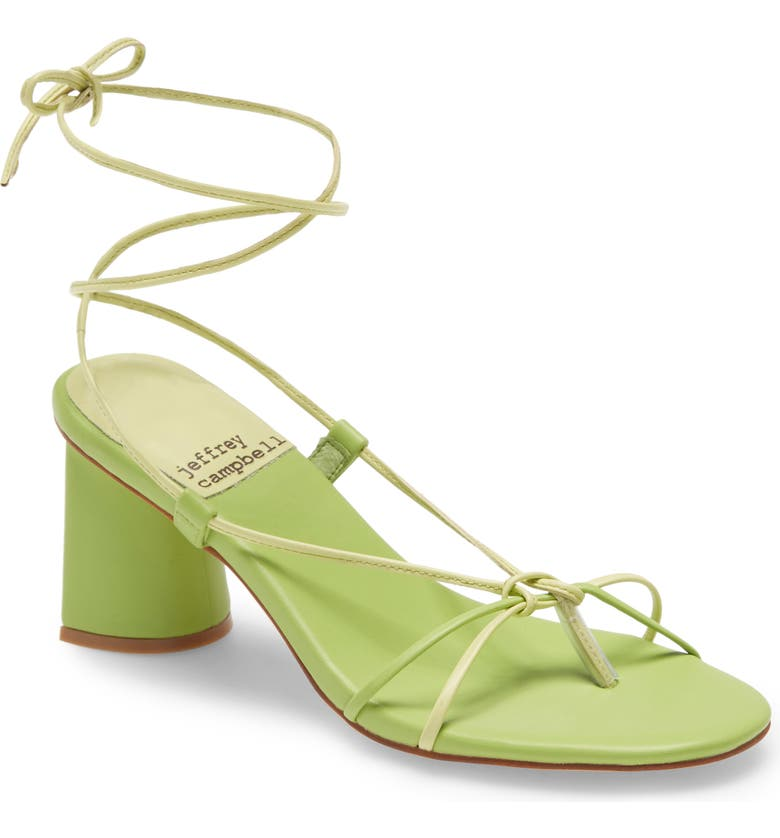 JEFFREY CAMPBELL Xifeng Ankle Tie Sandal, Main, color, GREEN YELLOW