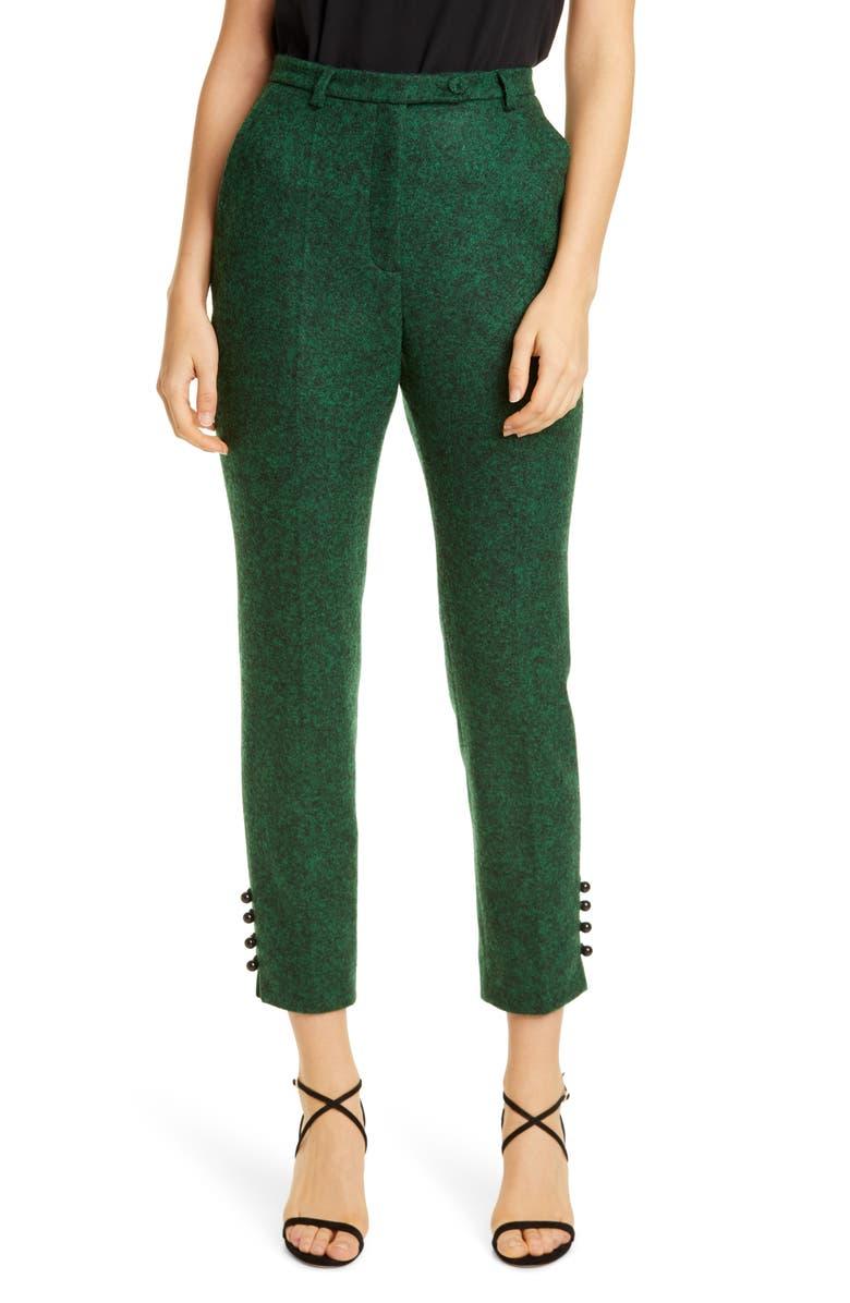 ERDEM Bernadina Slim Crop Pants, Main, color, GREEN/ BLACK