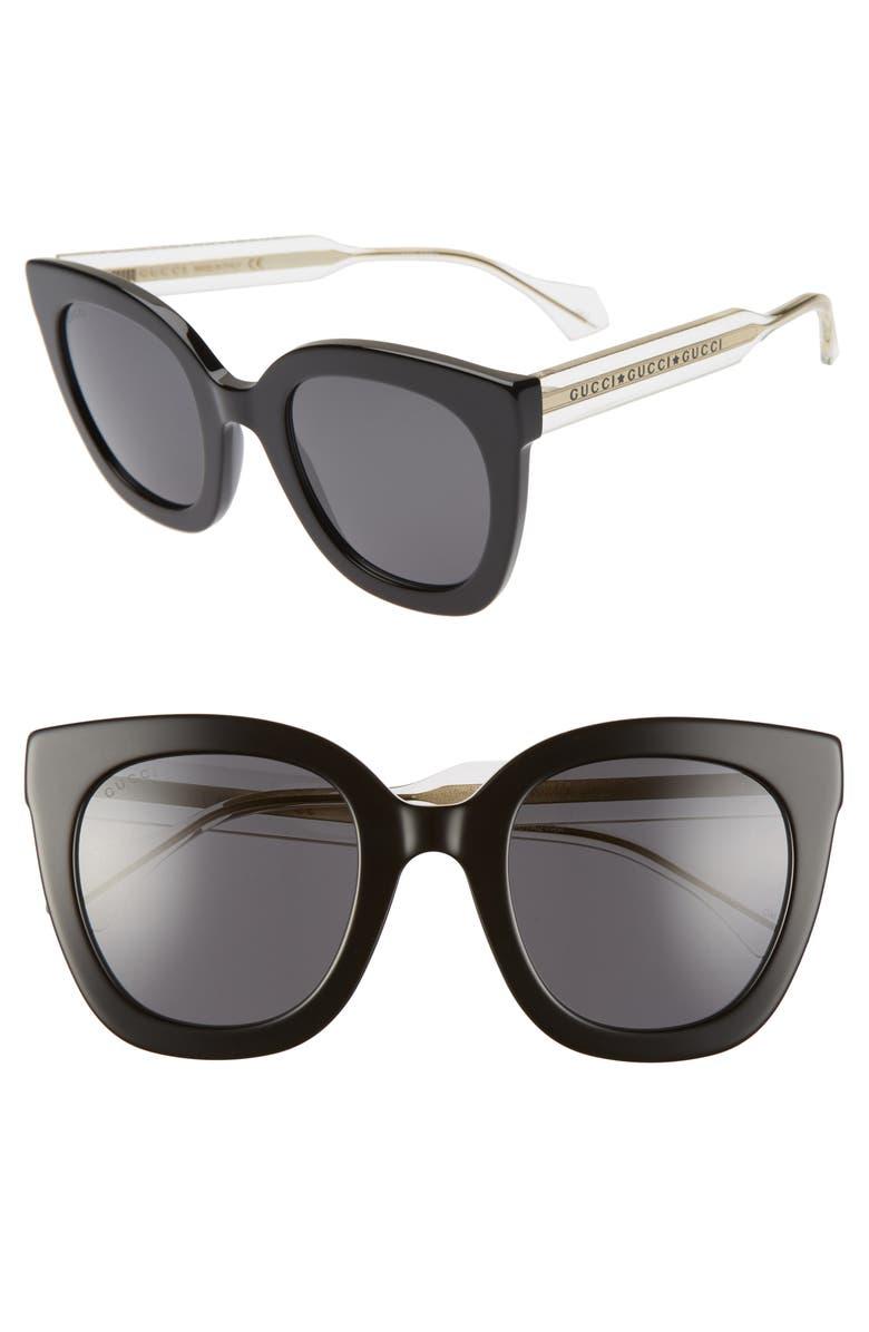GUCCI 51mm Cat Eye Sunglasses, Main, color, BLACK/ GREY SOLID